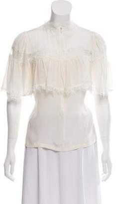 Marc Jacobs Lace-Trimmed Silk Blouse