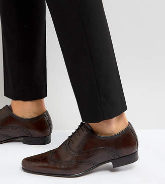 Asos Wide Fit Oxford Brogue Shoes in Brown Leather