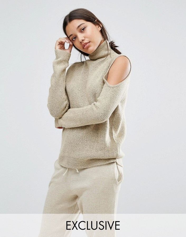 Micha Lounge Gray Cold Shoulder Sweater