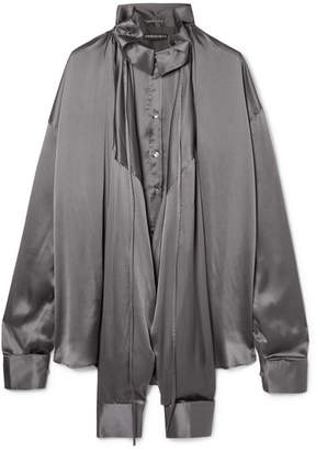 Y/Project Oversized Silk-charmeuse Blouse - Dark gray