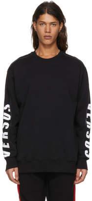 Versus Black Zip Logo Sleeve Sweatshirt