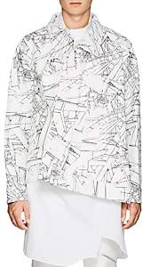 Comme des Garcons Men's Abstract-Pattern Faux-Leather Trucker Jacket - White