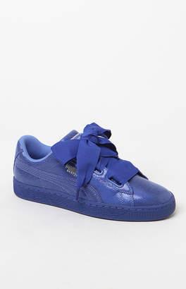 Puma Women's Blue Basket Heart Sneakers