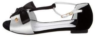 Chanel Velvet T-Strap Sandals