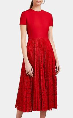 Valentino Women's Lace-Detailed Wool-Silk Dress - Red