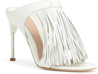 Alexander McQueen Ivory leather pin heel fringe mules
