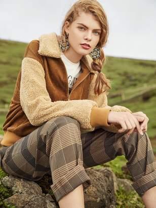 Shein Fuzzy Collar & Sleeve Corduroy Jacket