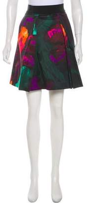 Milly Pleat-Accented Knee-Length Skirt