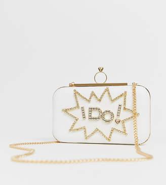 968a0b009d8 Aldo Malachite white 'I do' bridal diamante clutch bag