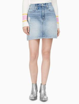 Calvin Klein light wash denim high rise mini skirt
