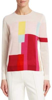 Akris Color Blocked Silk Blend Pullover