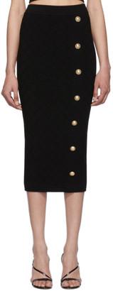 Balmain Black Knit High-Waisted Skirt