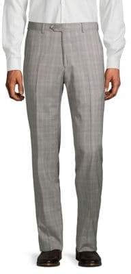 Santorelli Windowpane Plaid Wool Trousers
