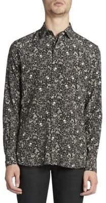 Saint Laurent Skull-Print Wool Shirt
