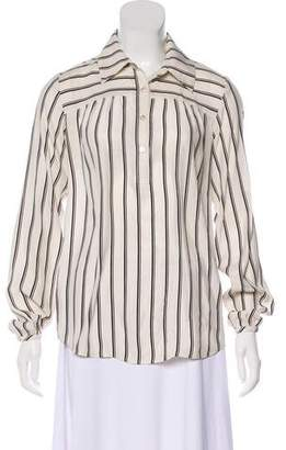 Frame Stripe Silk Blouse