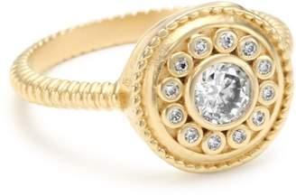 "Freida Rothman Hamptons"" Collection Solitaire Nautical Button Ring"