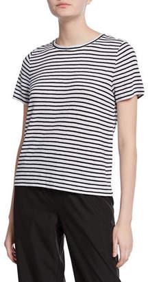 Eileen Fisher Petite Striped Organic Linen Jersey Cap-Sleeve Tee