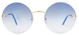 1e2c482b7d922 Cartier Eyewear - Panthere De Round Frame Metal Sunglasses - Womens - Black