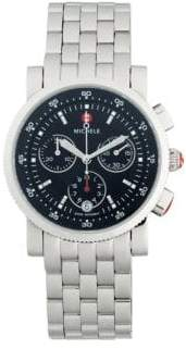 Michele Logo Chronograph Stainless Steel Bracelet Watch