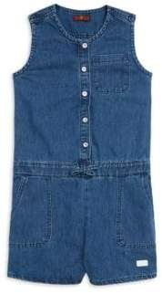 7 For All Mankind Girl's Buttoned Denim Romper