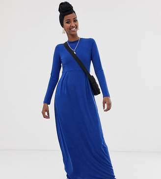 Verona long sleeved jersey maxi dress with pleat in blue