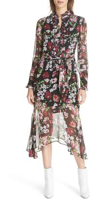 Equipment Palo Floral Print Silk Dress