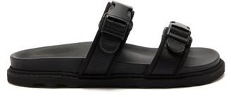 Bottega Veneta Logo Jacquard Buckled Canvas And Leather Slides - Mens - Black