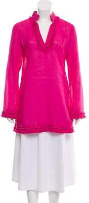 Tory Burch Fringe-Accented Woven Tunic