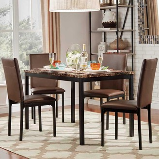 Homevance HomeVance Catania Dining Table & Faux-Leather Dining Chair 5-piece Set