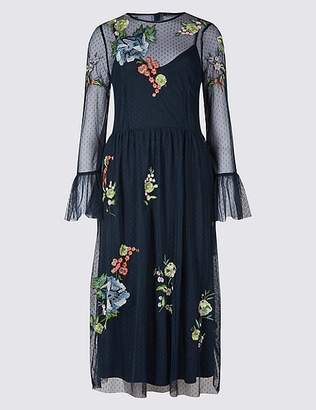 Marks and Spencer Embroidered Mesh Long Sleeve Midi Dress