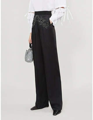 Christopher Kane Sequin-embellished wide high-rise satin trousers