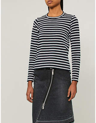 Sacai Striped cotton top with cut-out back
