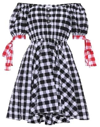 Caroline Constas Bardot Tie gingham cotton minidress