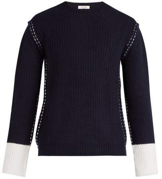 Valentino Contrast Cuff Wool And Cashmere Knit Sweater - Mens - Navy