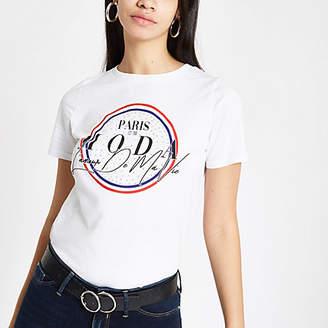 River Island Womens White 'Paris moda' diamante T-shirt