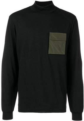 Oamc contrast-patch turtle neck sweater