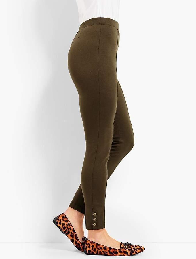 Ponte Button Skinny Ankle Legging