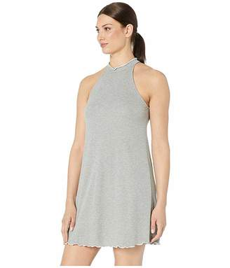 American Rose Penelope Mock Neck Ribbed Dress