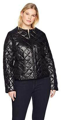 The Plus Project Women's Plus Size Lightweight Down Collarless Diamond Quilted Jacket 3X-Large