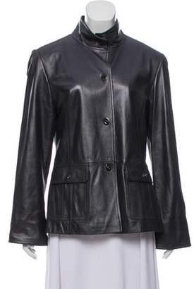 Ellen Tracy Mock Neck Leather Jacket