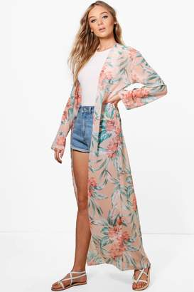 boohoo Maxi Tropical Kimono