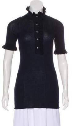 Tory Burch Silk & Cashmere-Blend Short Sleeve Top