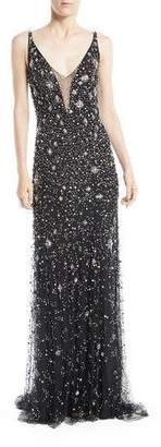 Jenny Packham Celeste V-Neck Sleeveless Beaded Tulle Column Evening Gown