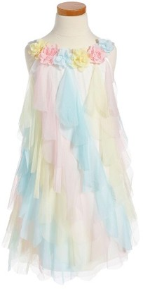 Toddler Girl's Biscotti Rainbow Petal Shift Dress $62 thestylecure.com