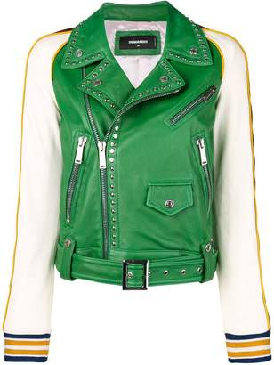 DSQUARED2 studded contrast leather jacket