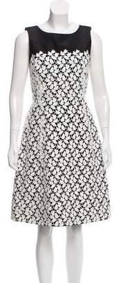 Oscar de la Renta Lace-Accented Silk Dress