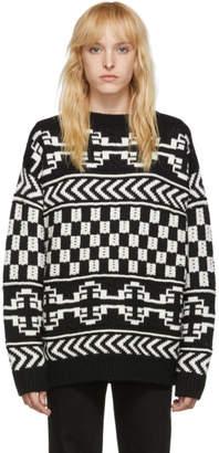 Alanui Black and White Wool Jacquard Sweater