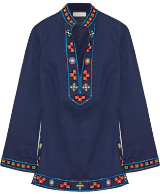Tory Burch - Tory Appliquéd Embellished Cotton Tunic - Navy $325 thestylecure.com