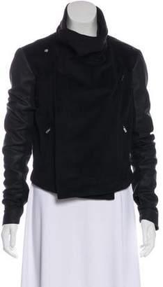 Veda Leather-Paneled Zip-Up Jacket