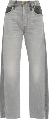 Atelier Jean Hunter Two-Tone Cropped High-Rise Straight-Leg Jeans